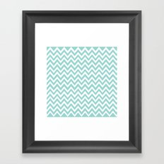 Teal Blue Chevron Framed Art Print
