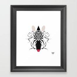 Zebra Tongues Out Framed Art Print