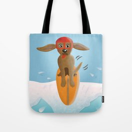 Surf Dog on Top of the Wave Tote Bag