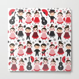 Seamless pattern spanish flamenco dancer. Kawaii cute face with pink cheeks and winking eyes. Metal Print
