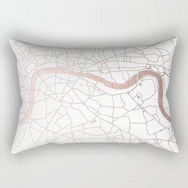 White on Rosegold London Street Map Rectangular Pillow