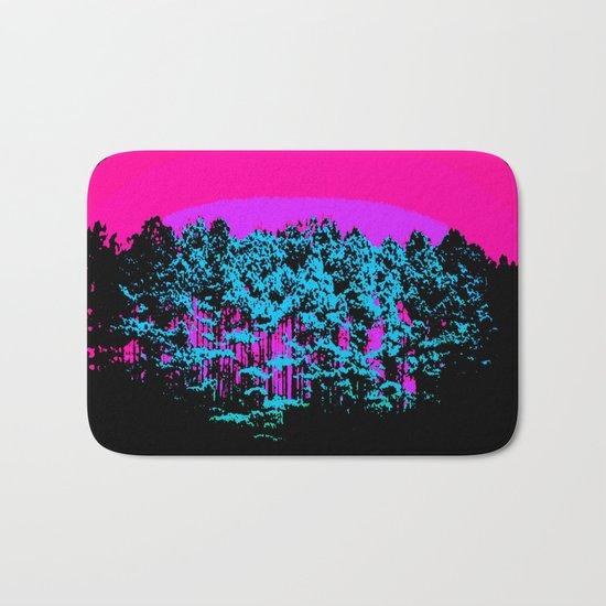 Mod Trees: Fuchsia Purple Turquoise Bath Mat