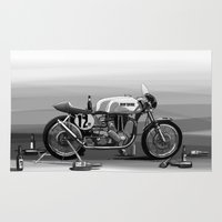 cafe racer Area & Throw Rugs featuring Beer Savage Vintage Norton Cafe Racer by TCORNELIUS