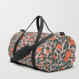 Oranges and Leaves Pattern - Pink Duffle Bag