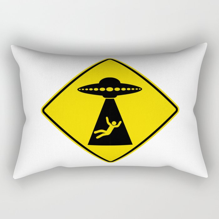 Alien Abduction Safety Warning Sign Rectangular Pillow