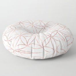 Mandala Rose Gold Flower of Life Floor Pillow