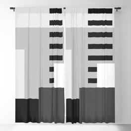 Carson Abstract Geometric Print in Black and White Blackout Curtain