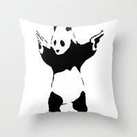 banksy Throw Pillows featuring Banksy Panda1 by vie3
