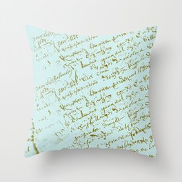 French Script on Paris Blue Throw Pillow