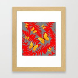 Red Fern Fronds With Yellow Butterflies & Grey Color Framed Art Print