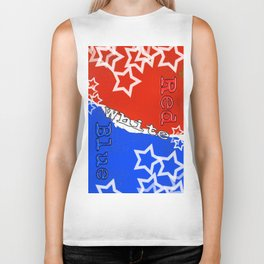 Red White and Blue with Stars Biker Tank