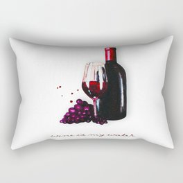 watercolor bottle of wine , glass of wine and grape Rectangular Pillow