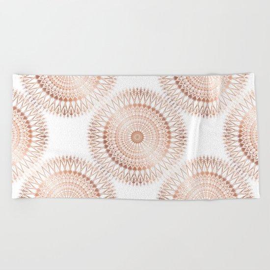 Rose Gold White Mandala Beach Towel