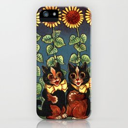 Cats & Sunflowers - Louis Wain Cats iPhone Case