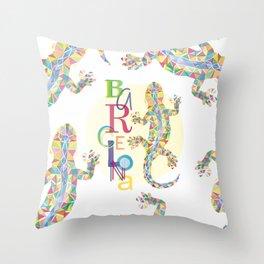 Barcelona City Lizard Throw Pillow