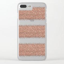 Rose gold glitter stripes Clear iPhone Case