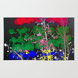 tree branch with leaf and painting texture abstract background in red green blue pink yellow Rug