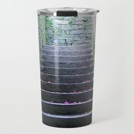 Ascension - petals on an old mossy stairwell Travel Mug