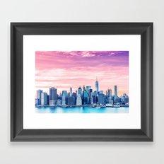 Lower Manhattan at Sunset Framed Art Print