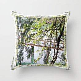 RAINY SPRING DAY AT THE DOCK IN THE WOODS Throw Pillow