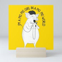 Pig singing Emilia | Animal Karaoke | Illustration Mini Art Print