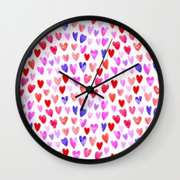 Watercolor Hearts pattern love gifts for valentines day i love you Wall Clock