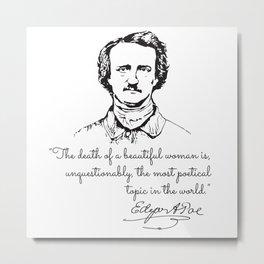 Edgar Allan Poe Quotes - Inspirational On Love, De Metal Print