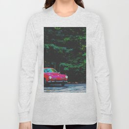 red classic car in the forest with green tree background Long Sleeve T-shirt
