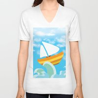 sail V-neck T-shirts featuring Sail by Lany Nguyen