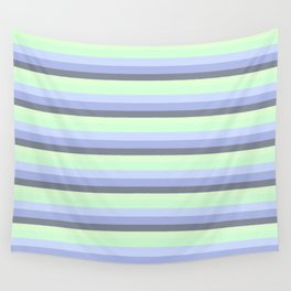Pastel Blue Green Gray stripeS Wall Tapestry