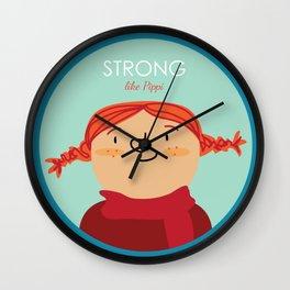 Strong like Pippi Wall Clock