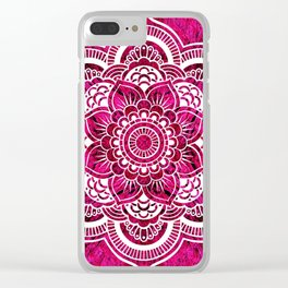 Mandala Hot Pink Colorburst Clear iPhone Case