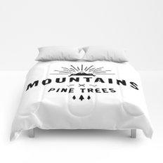 Mountains & Pine trees Comforters