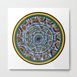 Free Hand Mandala in Circles Metal Print