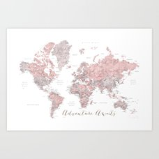 Dusty pink and grey detailed watercolor world map art print by world map in dusty pink grey watercolor adventure awaits art print gumiabroncs Gallery
