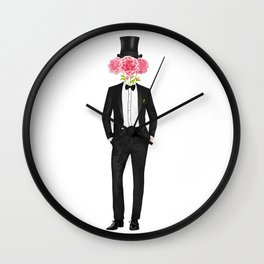 Gentleman with flowers Wall Clock