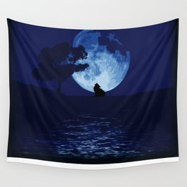 Blue moon wolf Wall Tapestry