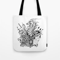 thrones Tote Bags featuring Game of Thrones by Ink Tales