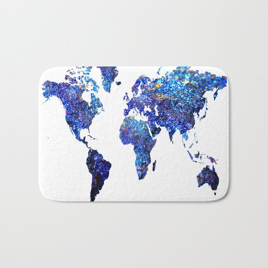 World Map blue purple Bath Mat