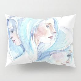 Three girls with blue hair in motion Pillow Sham
