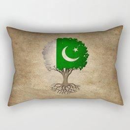 Vintage Tree of Life with Flag of Pakistan Rectangular Pillow