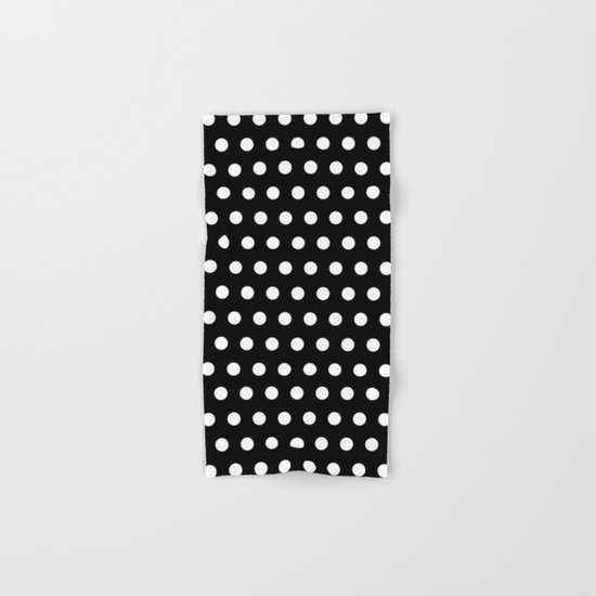 Black White Polka Dots Hand & Bath Towel