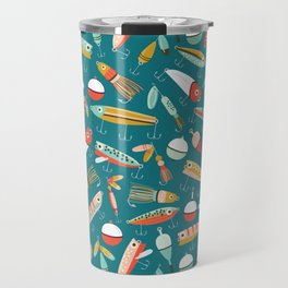 Fishing Lures Blue Travel Mug