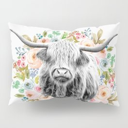Cutest Highland Cow With Flowers Pillow Sham