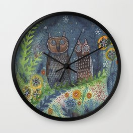 Twit Twoo, owl painting Wall Clock