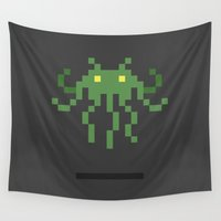 cthulhu Wall Tapestries featuring Cthulhu Invader by Michael B. Myers Jr.