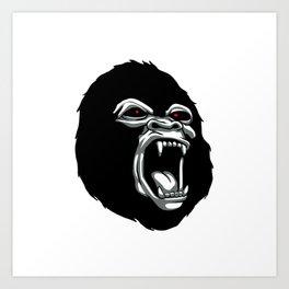 Angry gorilla head. Art Print