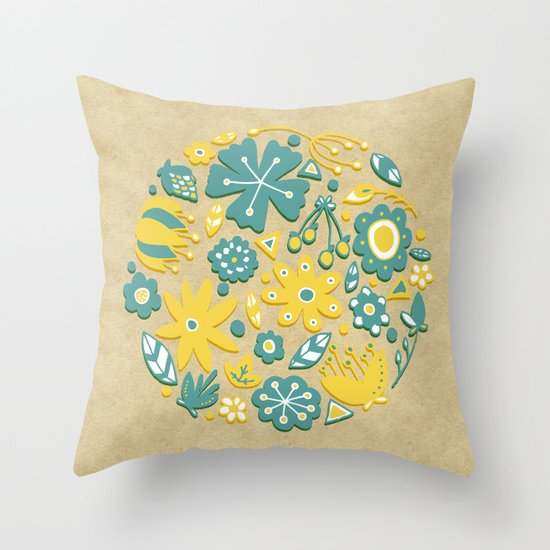Little Flower Circle Throw Pillow
