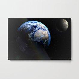 Earth and Moon Deep Space Telescopic Photograph Metal Print