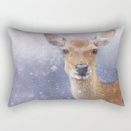 The Doe in Winter Rectangular Pillow